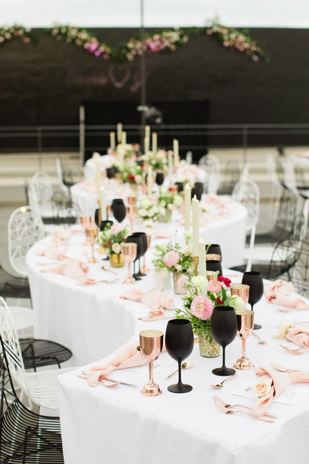 A Chic Black And Pink Wedding In Cabo Blush Pink And Black Wedding Black Wedding Decorations Black Gold Wedding
