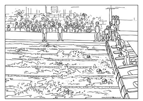 swimming race colouring page - Swimming Coloring Pages