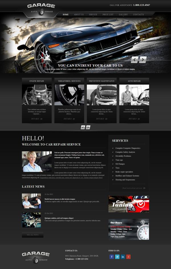 Garage Car Repair Service Responsive Wordpress Template By Dynamic Template Car Repair Service Wordpress Template Corporate Web Design