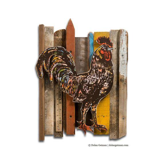 Primitive Rooster Barnwood Art Construction by dolangeiman on Etsy