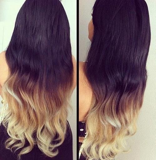 Ombre Hair Color Idea Brown To Golden Blonde Wavy Dip Dye Cascade
