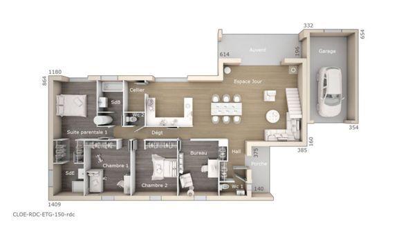 Modèle de maison Cloé 150 Design Toit 3 pentes -  Retrouvez tous