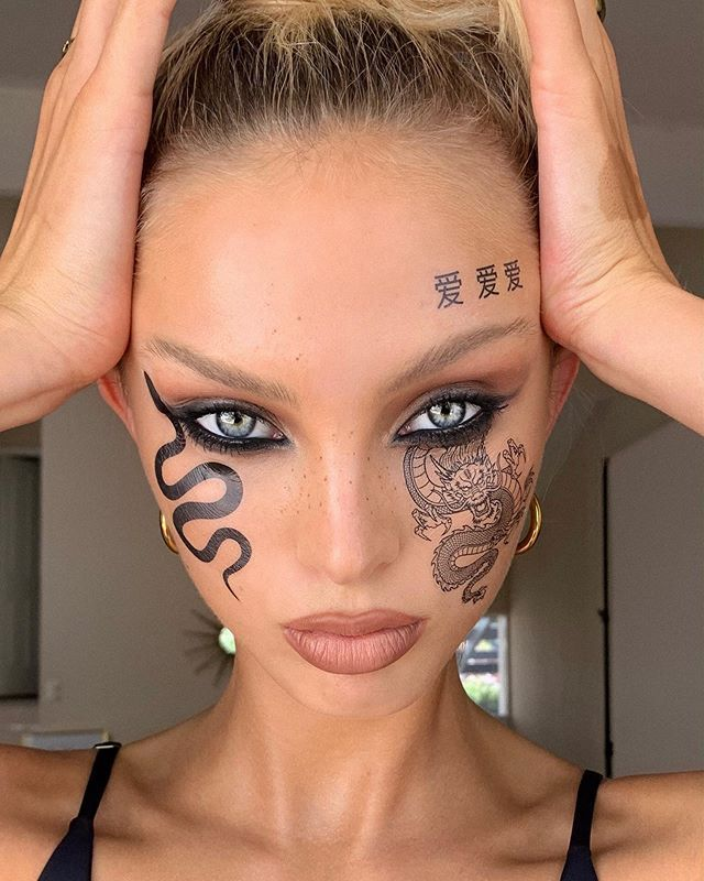Girl With The Dragon Tattoo Snake Eyes Nofilterneeded Lucy Baddeley When Studioflamingo Says Let S Recreate In 2020 Dragon Makeup Edgy Makeup Creative Eye Makeup