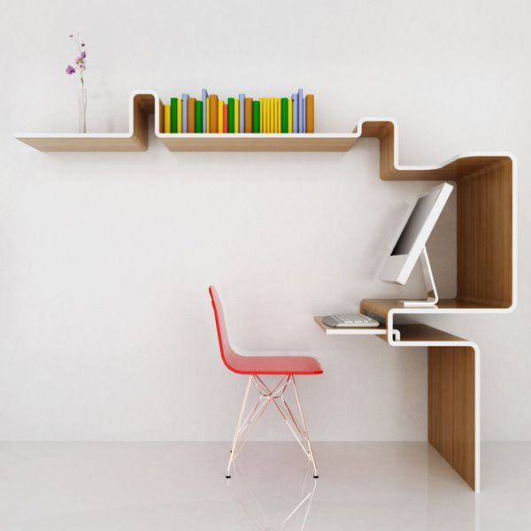 This one isn't like the other folding furniture. However, with the working area, the keyboard place could be inserted into a space and the shape of the shelf will cater to the chair. When you push the chair inside, it will create more space. Plus the structure of the shelf could also provide more shelf space.