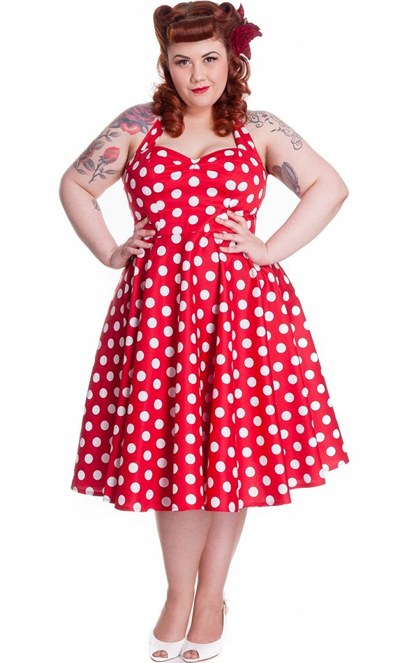 Hell Bunny Red Mariam 1950s Style Polka Dot Circle Dress | (Some ...