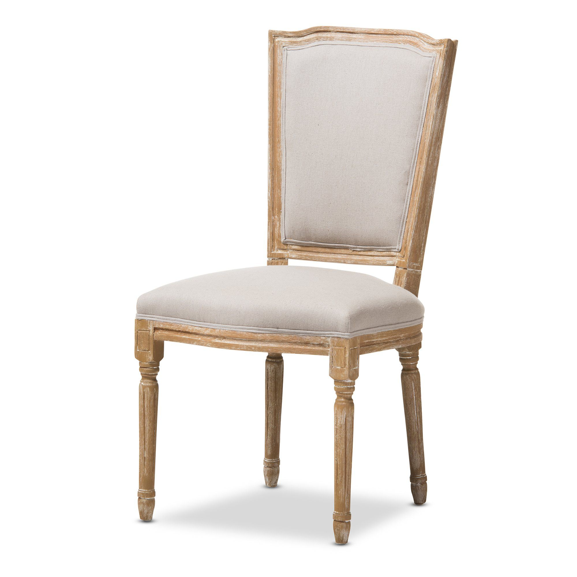 Vintage Weathered Oak Upholstered Dining Room Chair Cadencia