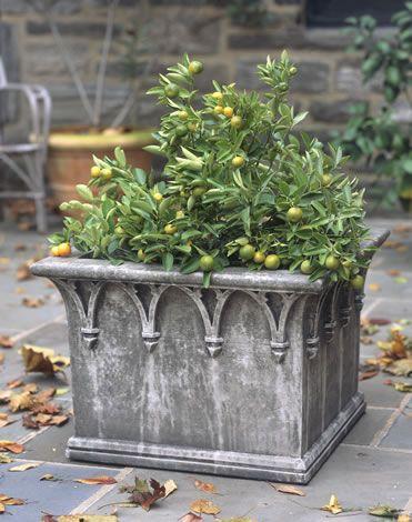 Campania International Cast Stone English Gothick Square Planter Square Planters Planters Garden Fountains