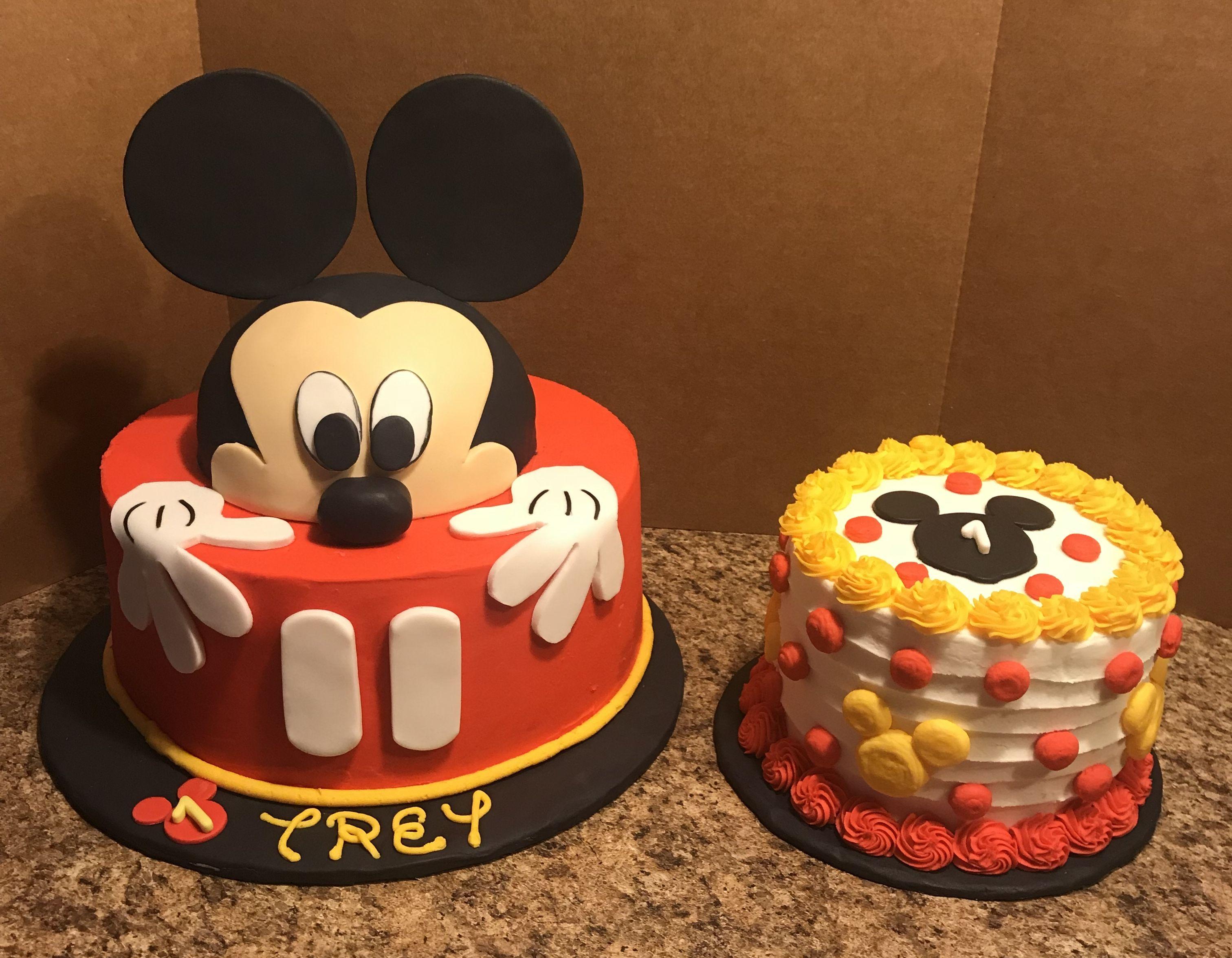 Mickey Mouse Birthday Cake And Smash Cake Mickey Mouse Smash