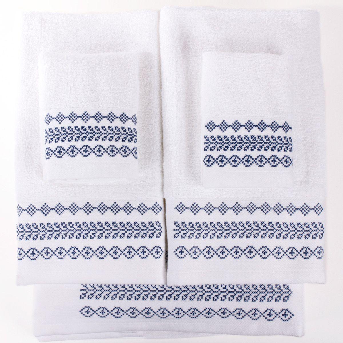 Badezimmer ideen blau fab  towel whiteblue set of six  embroidery  pinterest  haus