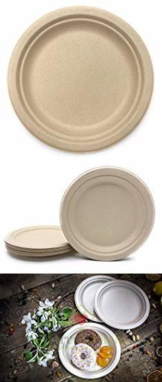 [ 50 COUNT ] Natural Sugarcane Fibers Bagasse (bamboo) Nine (9 ) inch (in) Round Disposable Plates Compostable Eco Friendly Environmental Paper Plates ... : are paper plates compostable - pezcame.com