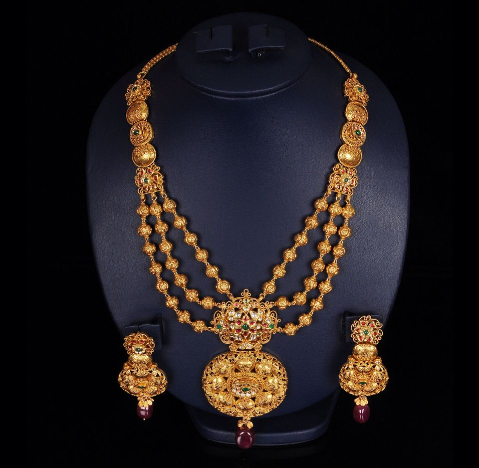 Bridal Diamond Necklace And Haram Set: Heavy Gold Necklace - 80-90 Grams !
