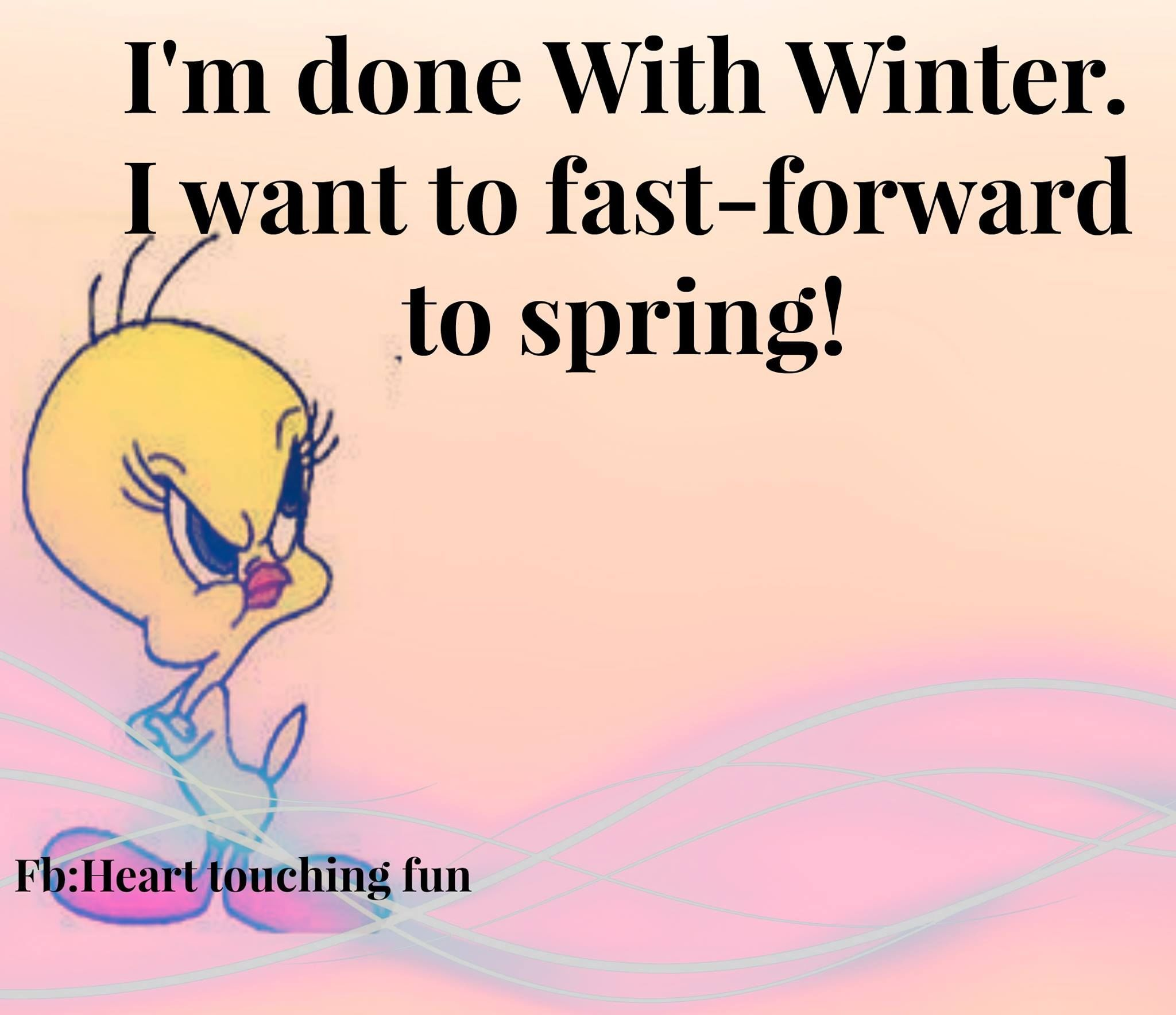 I Am Done With Winter Quotes Quote Winter Cold Funny Quotes Tweety Bird  Humor Winter Quotes