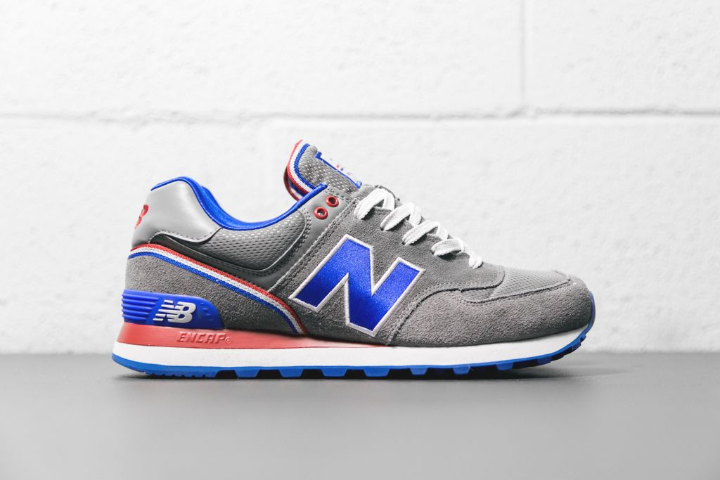 new balance 574 white blue red stripe