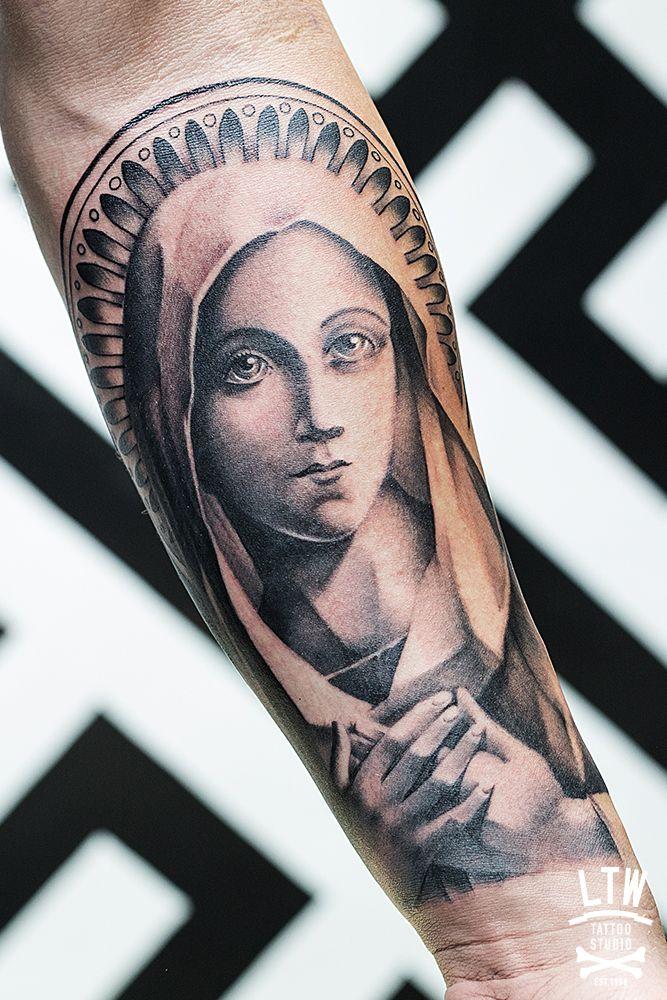 Ltw tattoo barcelona death pinterest holy mary for Holy mary tattoo