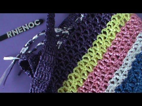 RNENOC: Parte 1 Bolsa Tejida Con Rafia Ganchillo Crochet:  Crocheted Woven Bag w/ Raffia