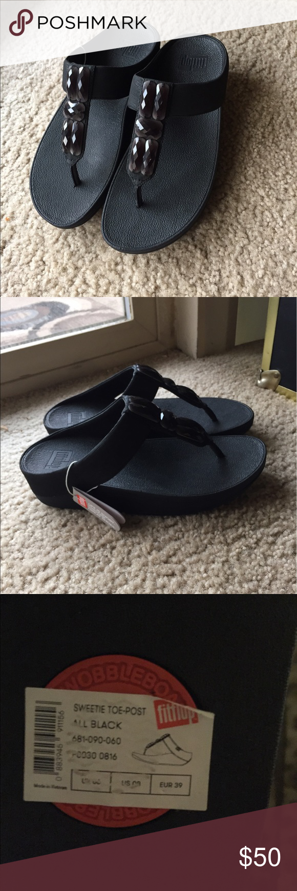 767d6b30123062 NWT Fitflop Sandals NWT Sweetie Toe-Post All black Fitflop Shoes Sandals