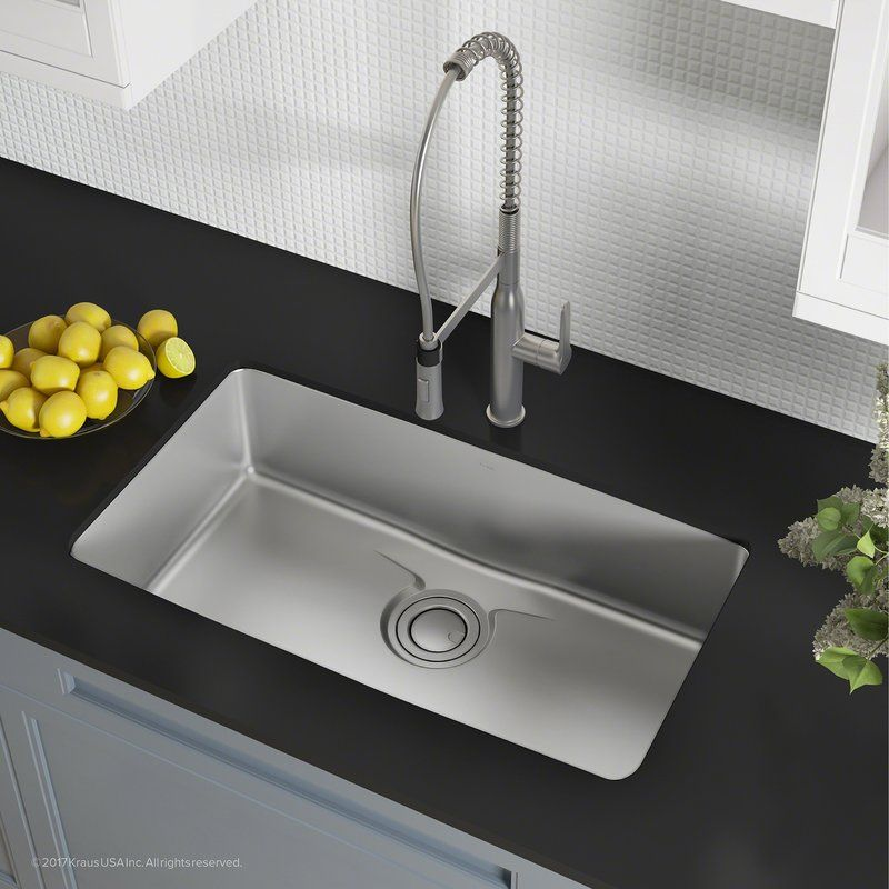 Dex Series Single Bowl 33 X 19 Undermount Kitchen Sink With