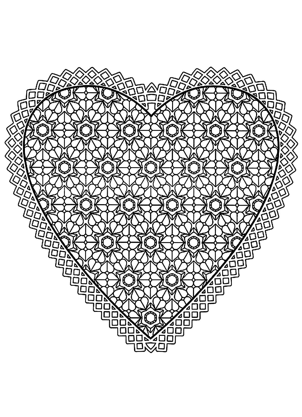 Free Mandala Difficult Adult To Print Heart Coloring Pages Printable And Book For Find More Online Kids