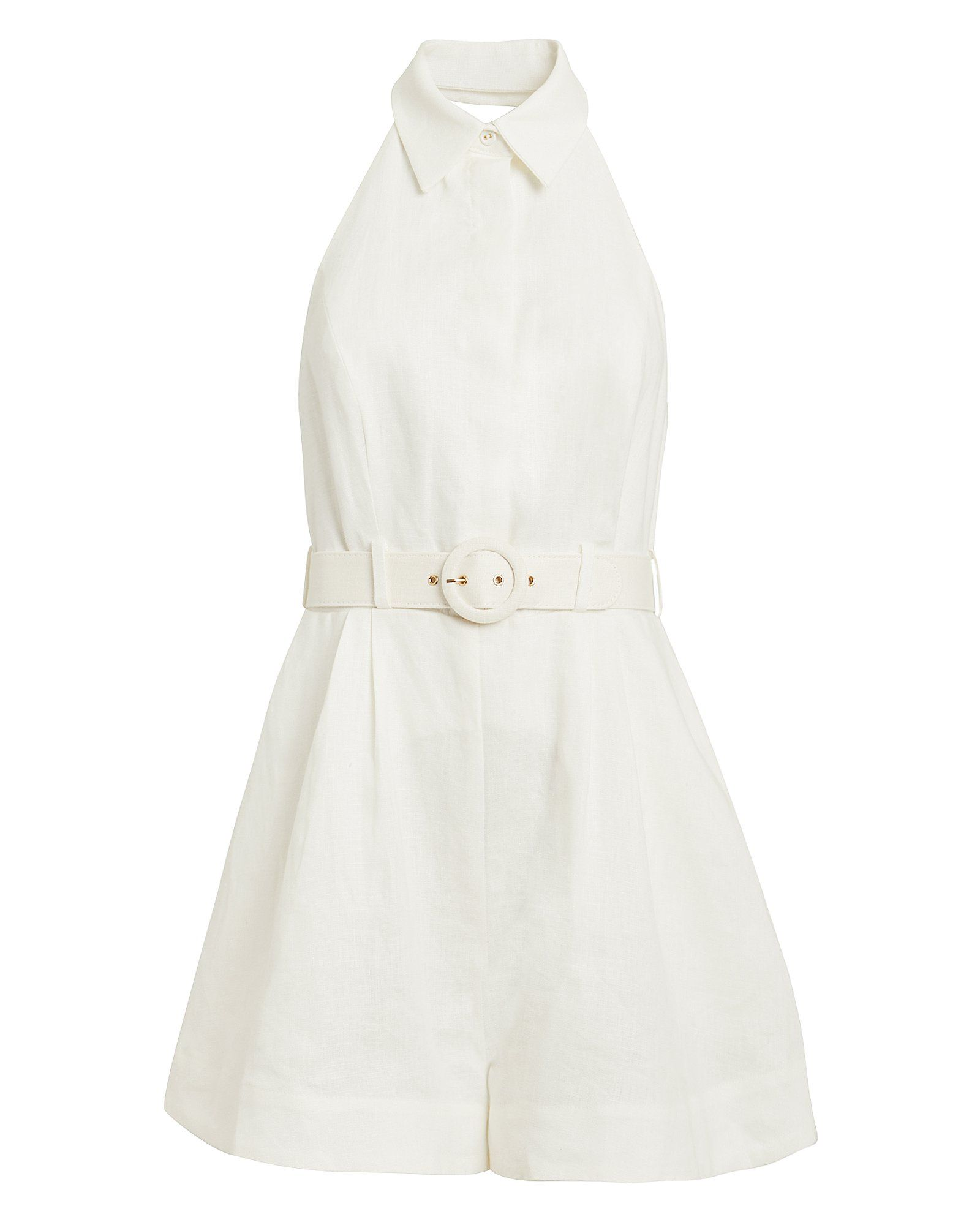 Zimmermann Primrose Halter Romper in Ivory | Shopping Is a