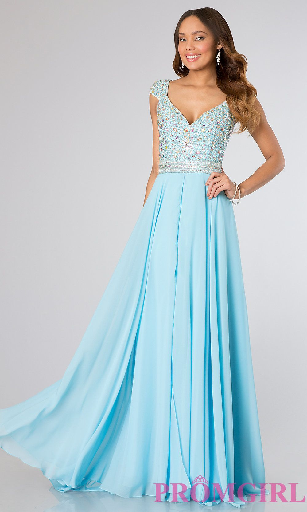Long V-Neck Gown with Cap Sleeves by Panoply | Shops, Prom dresses ...