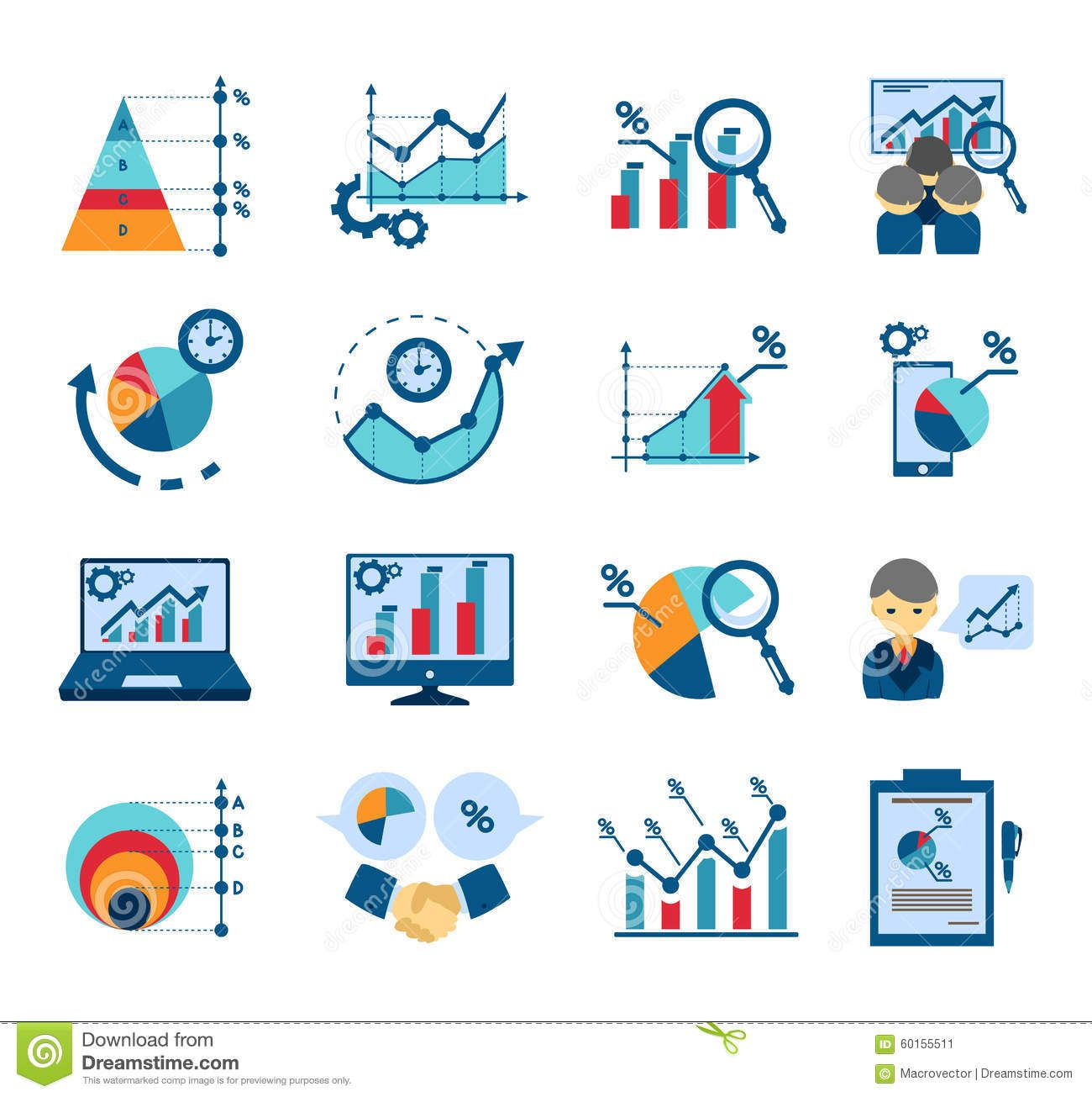 Data Analysis Flat Icons Collection Stock Vector Image 60155511