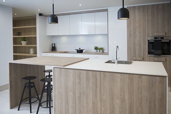 Download Wallpaper White Wood Effect Kitchen Units