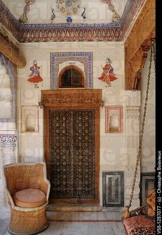 Interior doorway in a Haveli (mansion) in the 15th century town of Fatehpur, Shekhawati  region of the old camel caravan trade route.   #India