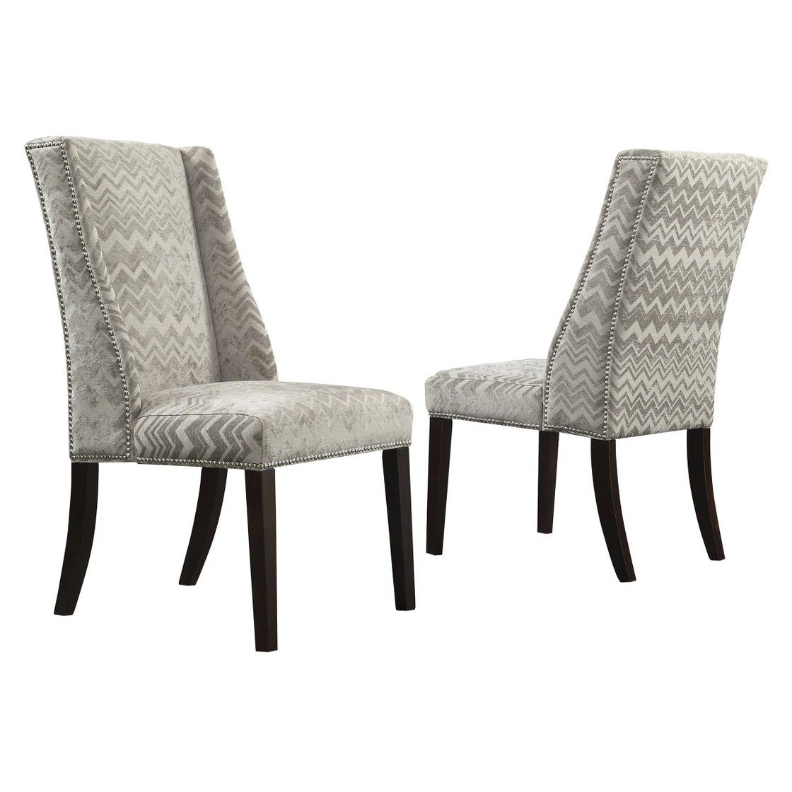 Harlow Wingback Dining Chair With Nailheads Velvety Chevron Set