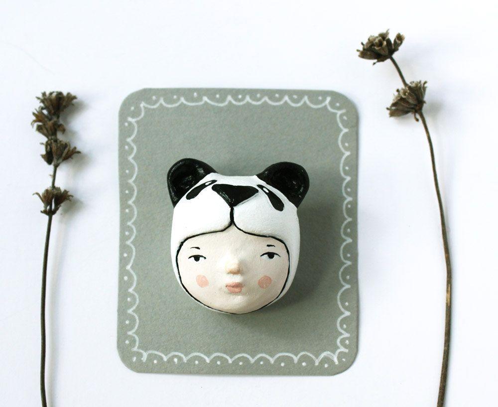 Animal brooch - Panda girl face pin - Handsculpted jewelry