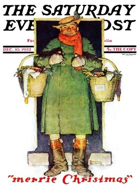 Dickensian gent with baskets laden with food