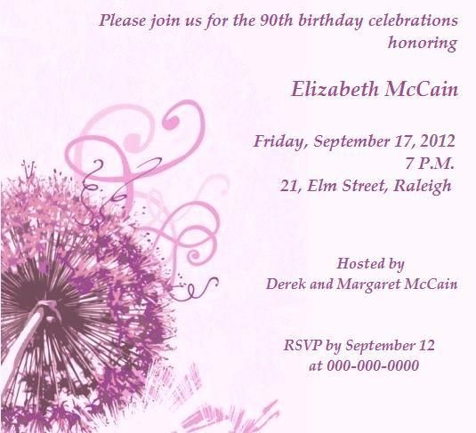 90th birthday party invitations to laud the spirit of old age, Birthday invitations