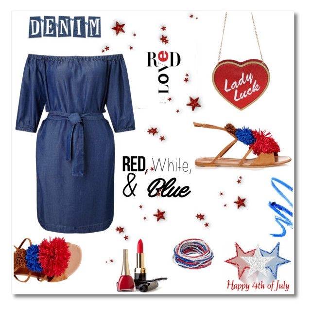 """""""Denim with red, white & blue...#4thofjuly #denim #redlove #sumerlook #contestentry"""" by fashionlibra84 ❤ liked on Polyvore featuring Miss Selfridge, Malone Souliers, redwhiteandblue and july4th"""