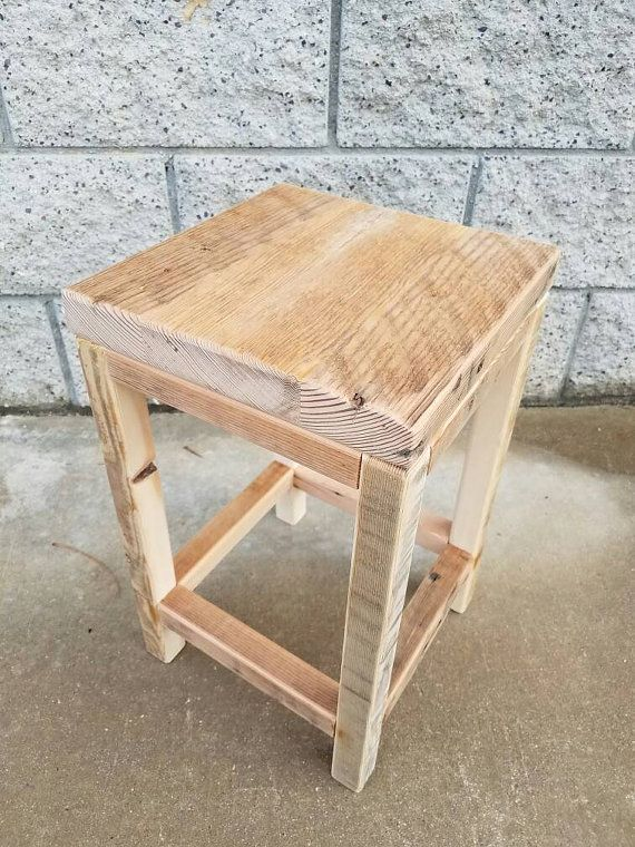 Rustic reclaimed fir low stool by ManleyWoodworkers on Etsy