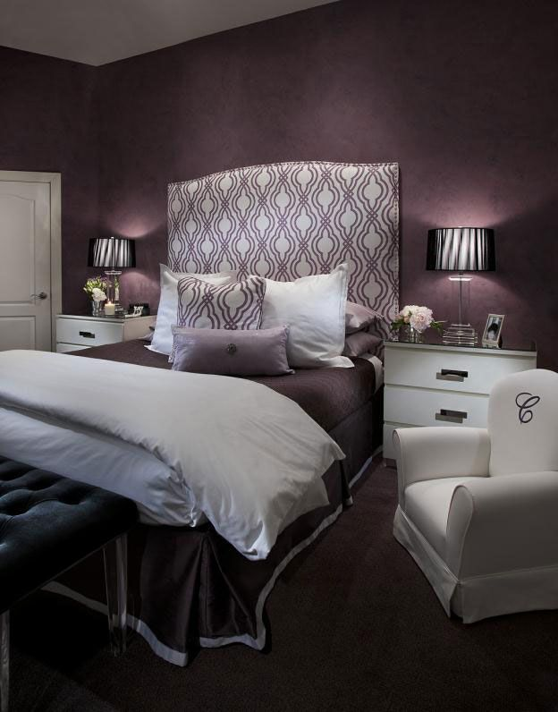 Good Featured Dark Purple Bedroom Decorating Ideas With White Sofa Beautiful  Purple Color Play For Your Bedroom