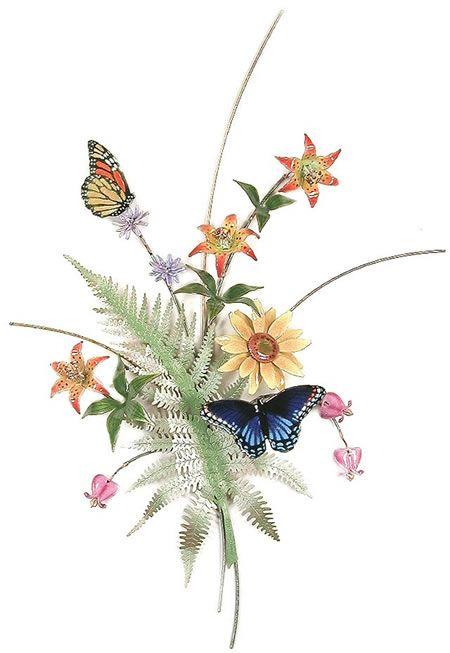 Butterflies with Fern, Lilies, Sunflower Wall Sculpture-Wall Décor-Wall Hanging. Available at AllSculptures.com