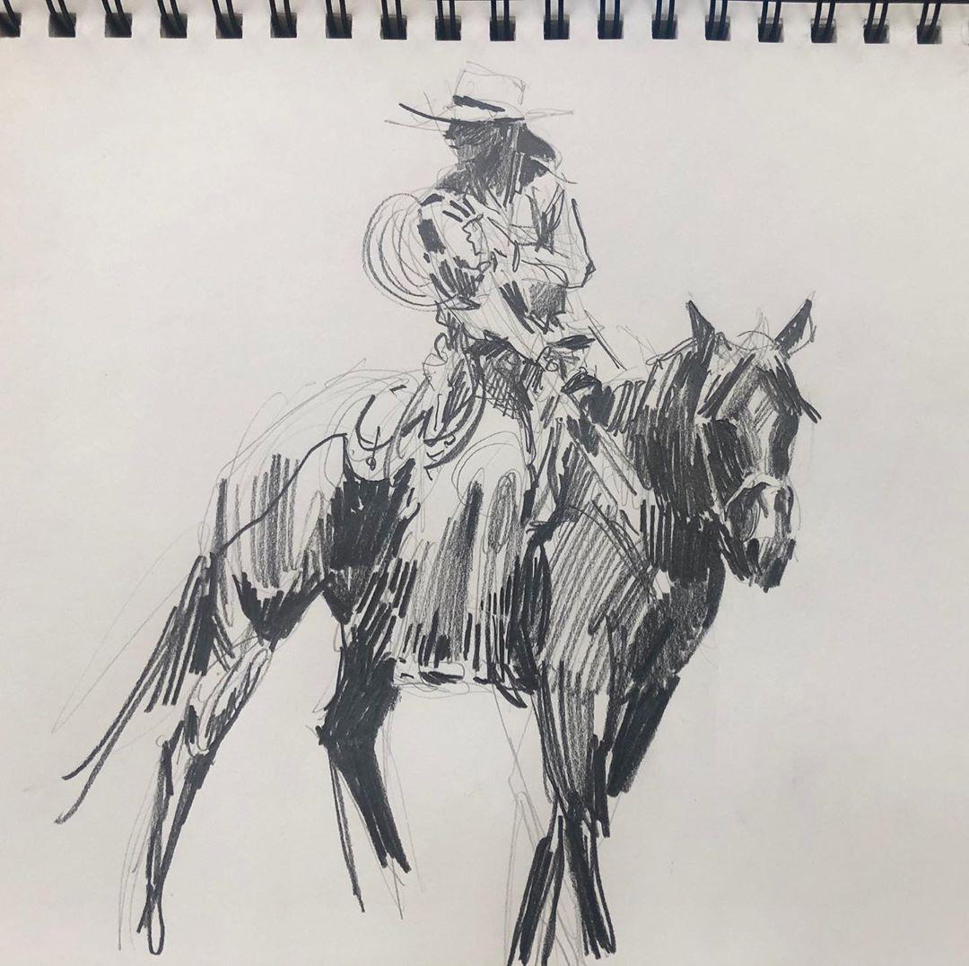 "Duke Beardsley Studio's Instagram profile post: ""It's a #drawing #cowgirls kinda #monday because #lifeisart and #artislife"""