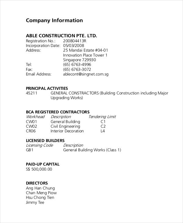 Construction Company Description Example Business Pinterest - company information template