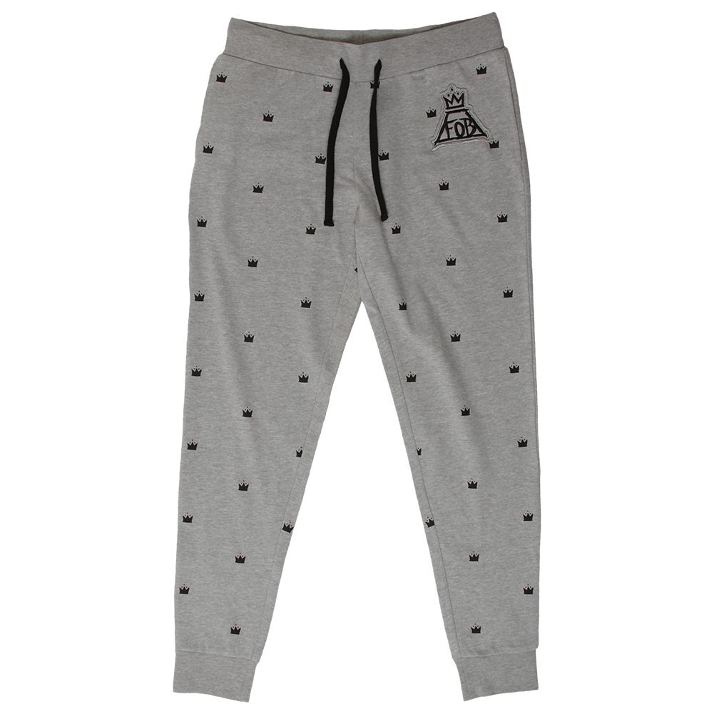 Super Soft Fleece Jogger Pants With Printed Crown Logos All Over Sizing Boys Clothes Style Jogger Pants Active Wear Pants [ 1001 x 1001 Pixel ]