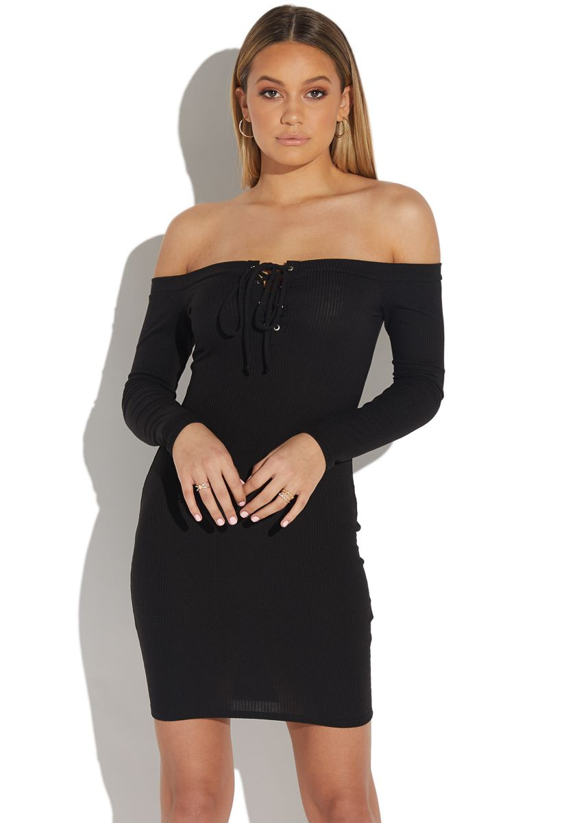 1732d0d5f23c Lace up off shoulder knit dress in 2019 | Shoedazzle | Knit dress ...
