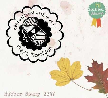 Knitting & Crochet Stamp Personalized Rubber di myrubberstamp