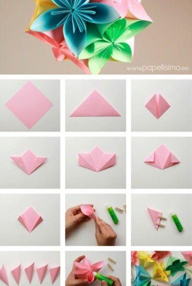 Flor De Origami Paso A Paso Crafts Diy Origami Origami Flowers