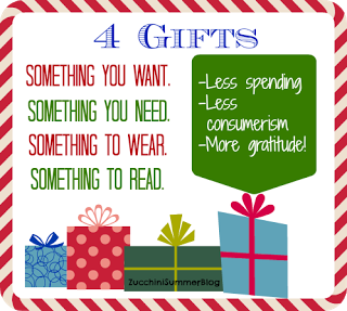 4 gifts for christmas something you want something you need something to wear and something to read