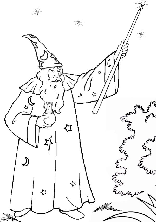 free online printable kids colouring pages merlin the wizard colouring page