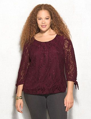 6e2c4ba0ecfa27 roz & ALI™ Plus Size Lace Tie-Sleeve Blouse | My Style in 2019 ...