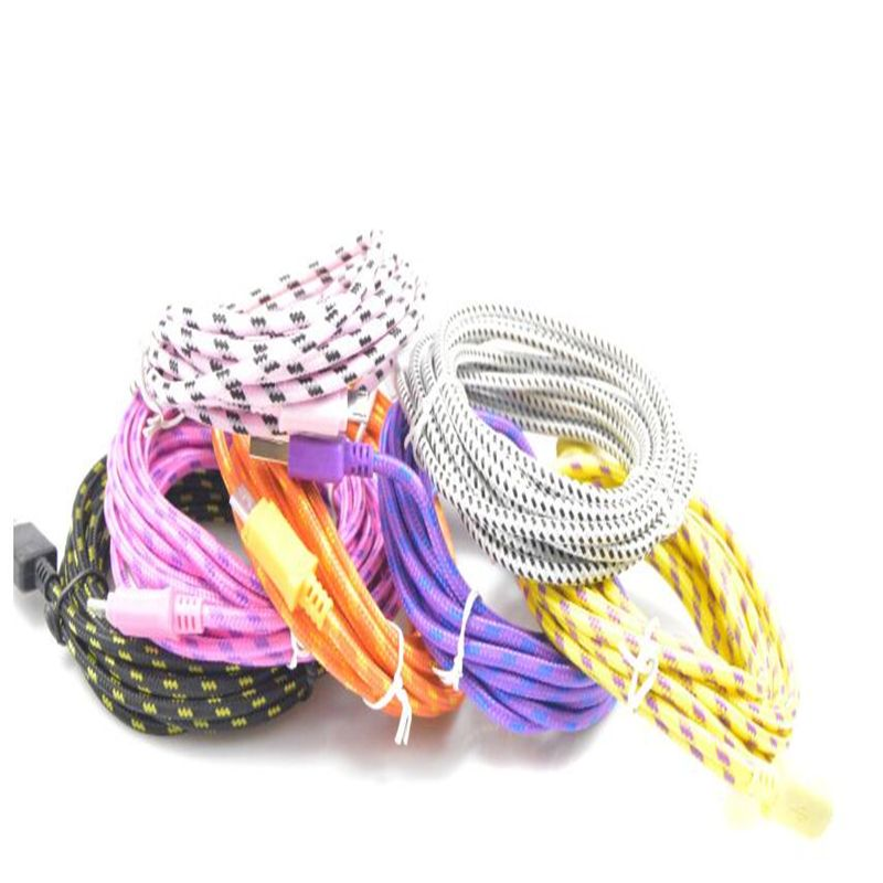 Click to Buy << 3M Charging Cord Round Braided Fabric Woven Micro ...