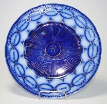 """Vintage Flow Blue Plate – """"Chain of States"""""""