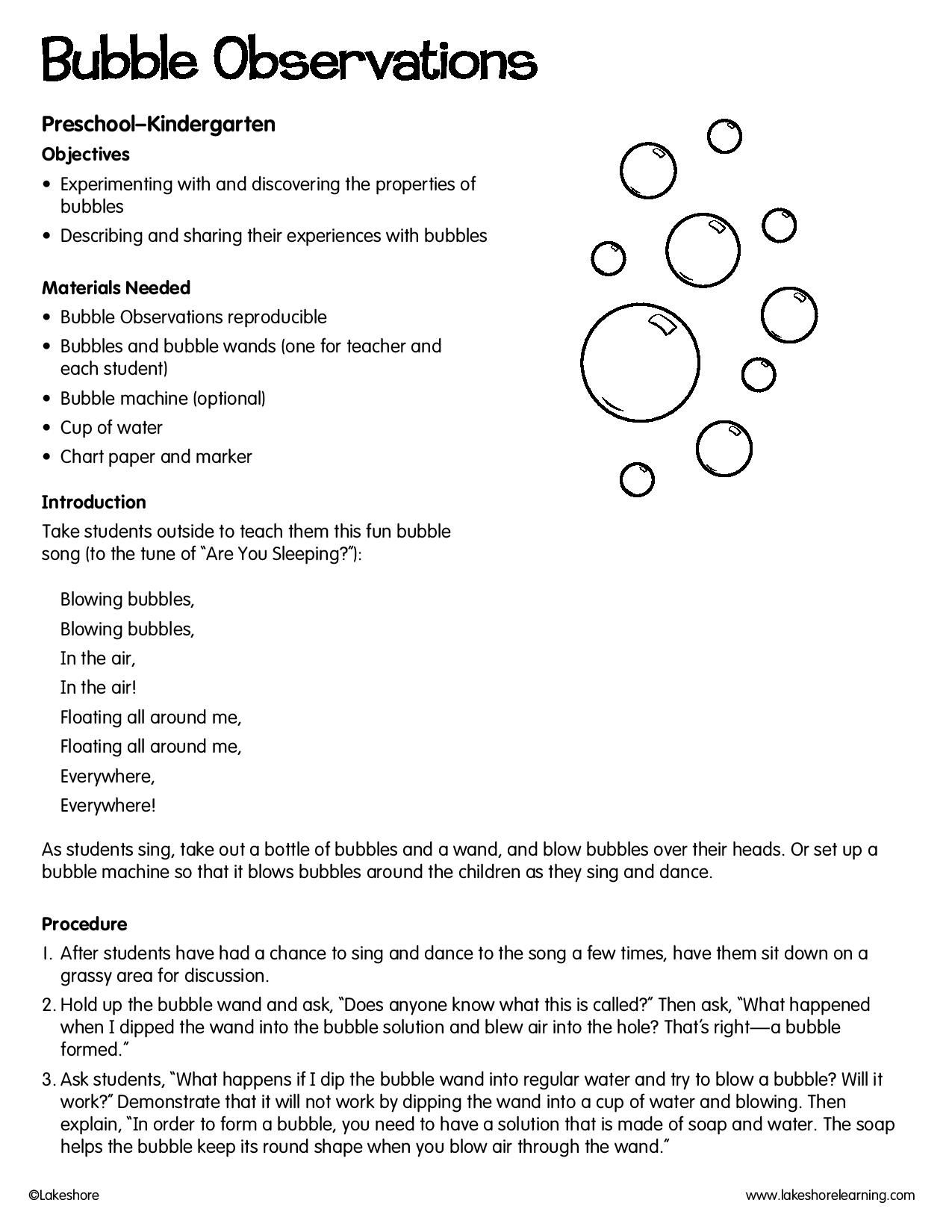 Bubble Observations Lessonplan