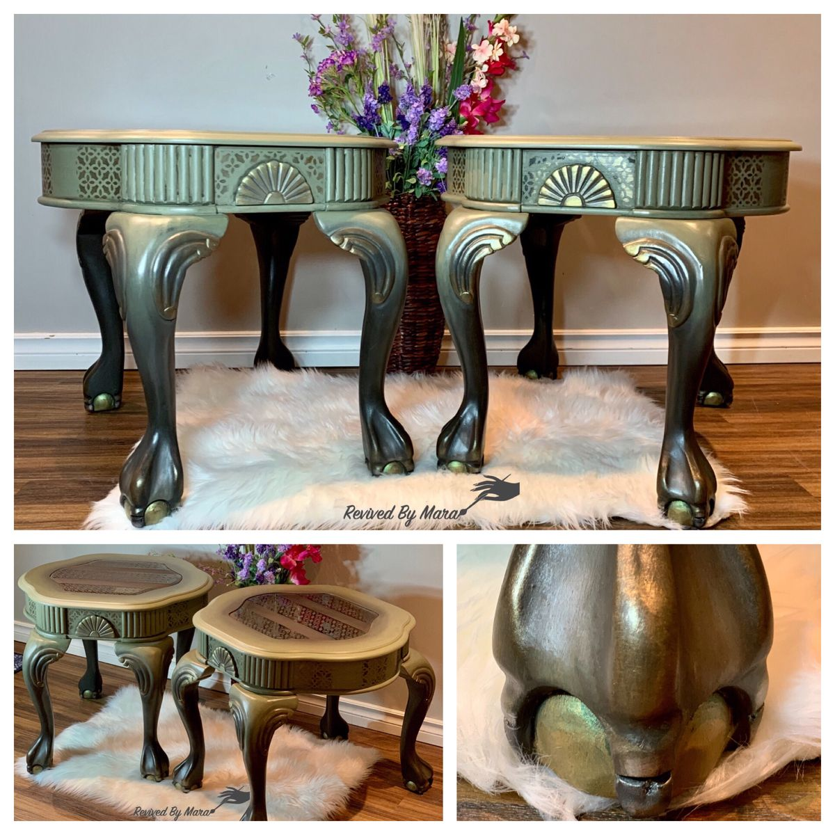 #diy #hanpainted #sidetables #vintagefurnituremakeover #furnituremakeoverdiy #furnitureartist