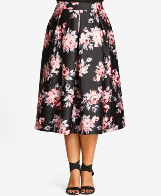 fb3b60b100 City Chic Plus Size Floral-Print Sateen Midi Skirt $99.00 City Chic's  sateen midi skirt is perfect for two-piece formal looks. Pair it with a  cropped top to ...