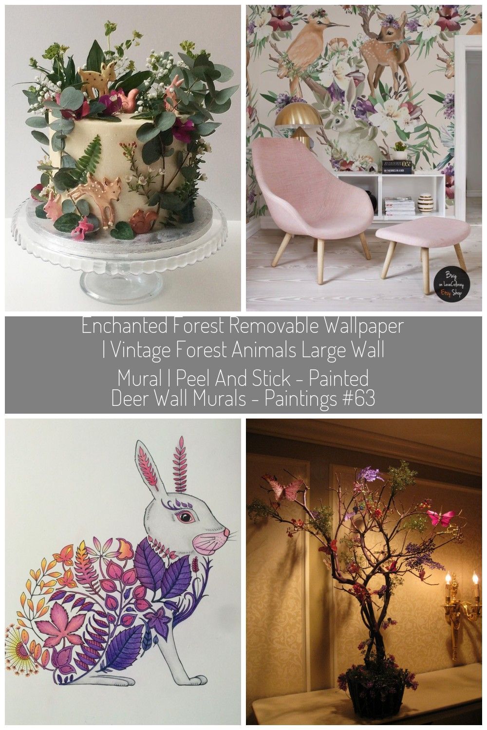 enchanted forest animals Wallpapers vintage, Large wall